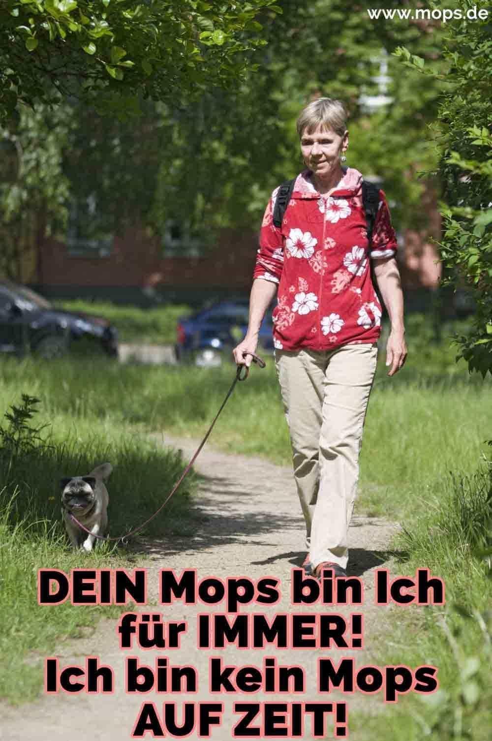 Eine Frau mit ihrem Mops zu Fuß